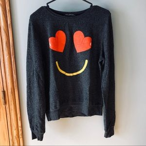 WILDFOX heart smile pullover crewneck sweatshirt